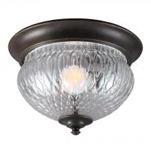 Generation Lighting - Seagull 7826401-780 - Garfield Park One Light Outdoor Ceiling Flush Mount in Burled Iron with Clear Glass